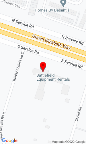 Google Map of Battlefield Equipment Rentals 880 South Service Road, Stoney Creek, ON, L8E 5M7