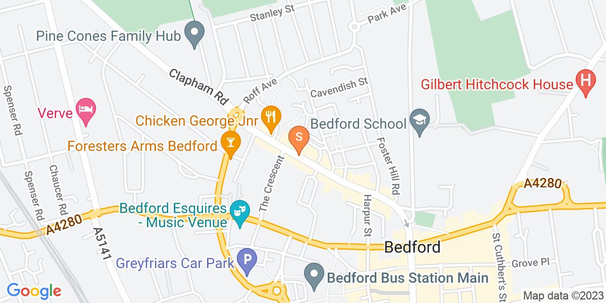 Google Map of Bedford Tavistock Square Bedford MK40 2RR