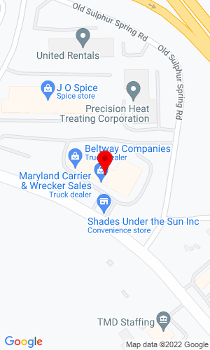 Google Map of Beltway International Trucks 1800 Sulphur Spring Rd, Baltimore, MD, 21227