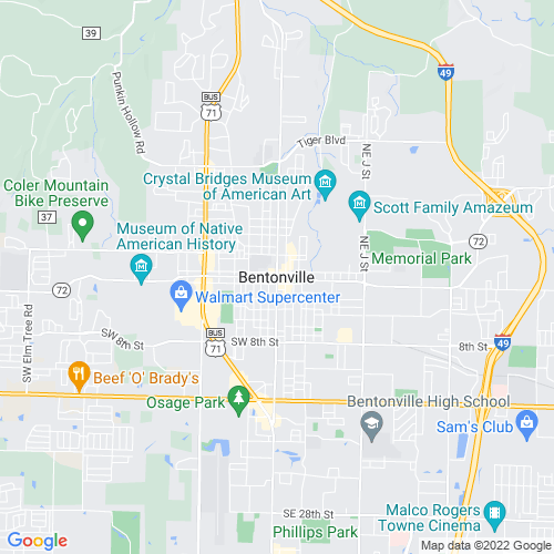 Map of Bentonville, AR