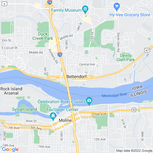 Map of Bettendorf, IA