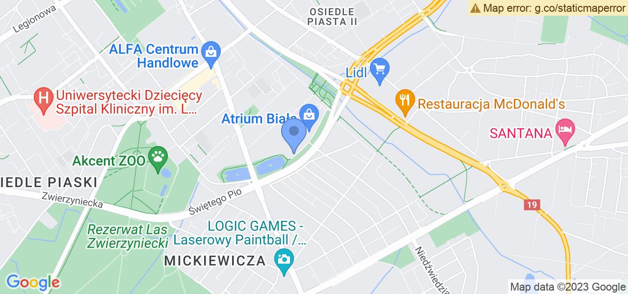 Jedna z ulic w Białymstoku – Czesława Miłosza i mapa dostępnych punktów wysyłki uszkodzonej turbiny do autoryzowanego serwisu regeneracji