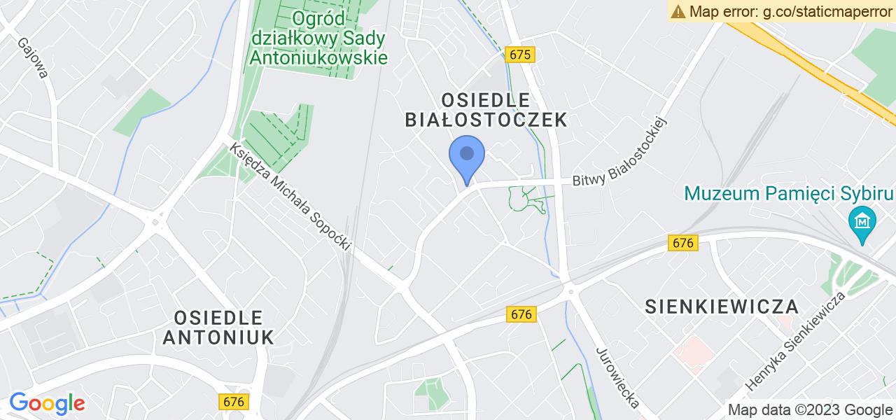 Jedna z ulic w Białymstoku – Radzymińska i mapa dostępnych punktów wysyłki uszkodzonej turbiny do autoryzowanego serwisu regeneracji