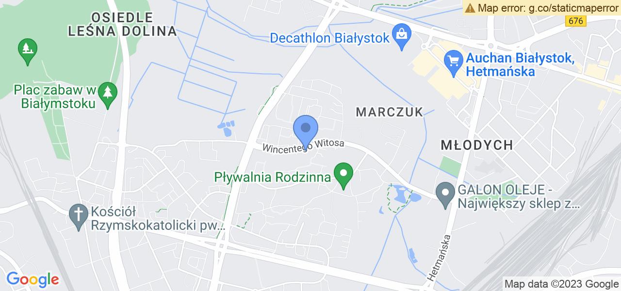 Jedna z ulic w Białymstoku – Wincentego Witosa i mapa dostępnych punktów wysyłki uszkodzonej turbiny do autoryzowanego serwisu regeneracji