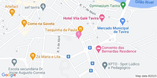 Google Map of Biblioteca Municipal Álvaro de Campos, Tavira