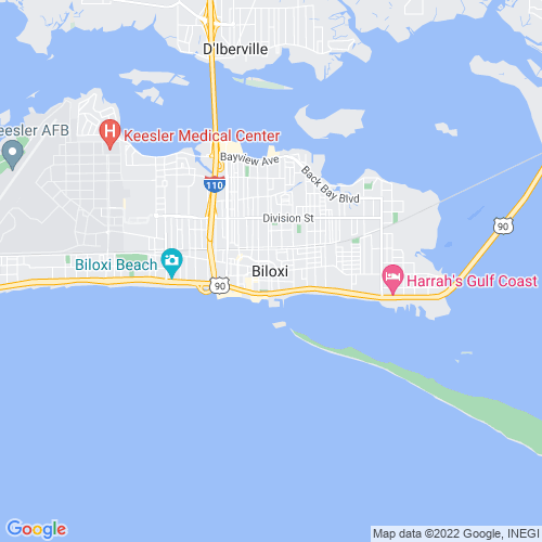 Map of Biloxi, MS