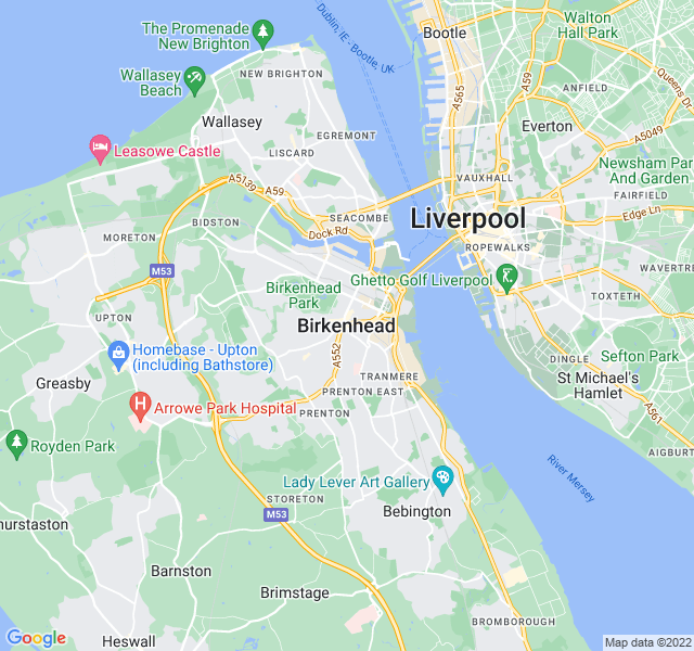 Website Designer Birkenhead Google map of location