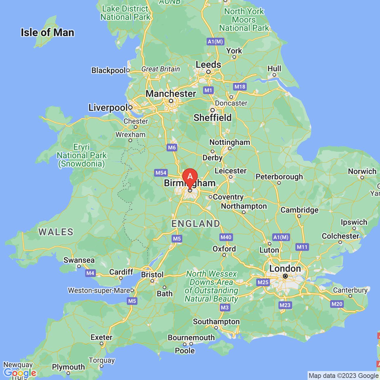 Birmingham, England Map