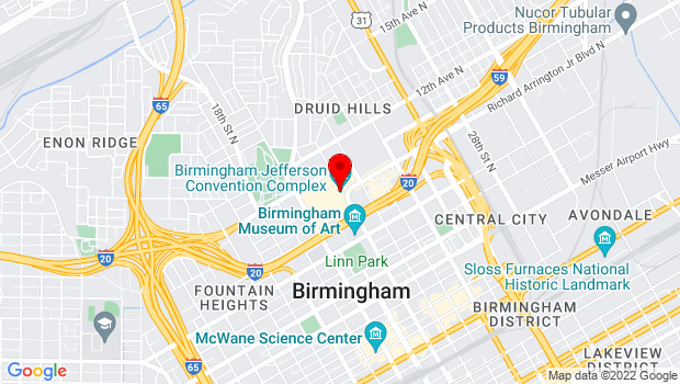 Google Map of Birmingham-Jefferson Convention Complex 2100 Richard Arrington Jr. Blvd. North, Birmingham, AL 35203