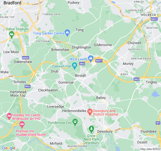 Website Designer Birstall Google map of location