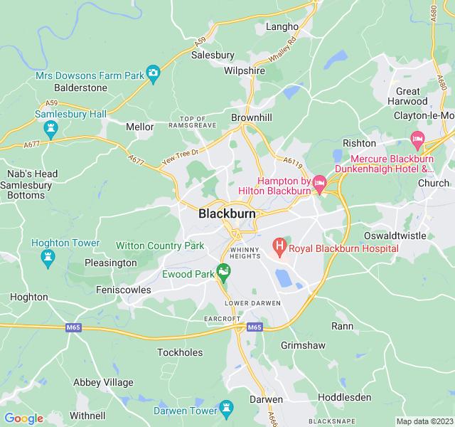 Website Designer Blackburn Google map of location