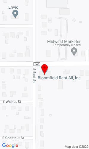 Google Map of Bloomfield Rent-All Inc. 502 E Franklin Street, Bloomfield, IA, 52537,
