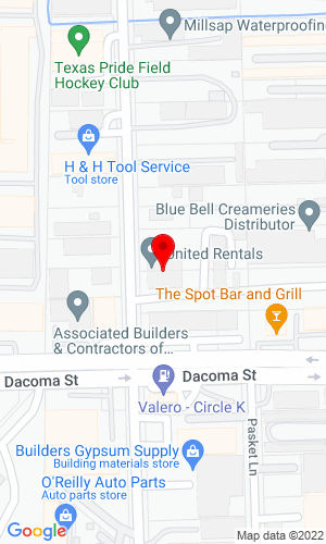 Google Map of BlueLine Construction Equipment & Services 3401 E Park Row Drive, Arlington, TX, 76010