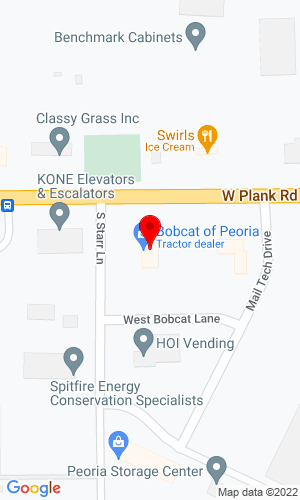 Google Map of Bobcat of Peoria, Inc. 100 Starr Lane, Bellevue (Peoria), IL, 61604,