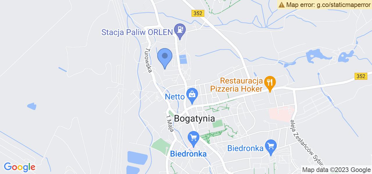 Jedna z ulic w Bogatyni – Ignacego Daszyńskiego i mapa dostępnych punktów wysyłki uszkodzonej turbiny do autoryzowanego serwisu regeneracji
