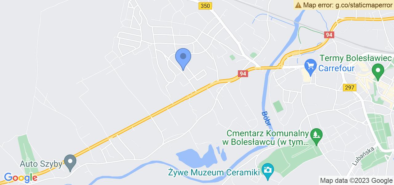Jedna z ulic w Bolesławcu – Sadowa i mapa dostępnych punktów wysyłki uszkodzonej turbiny do autoryzowanego serwisu regeneracji