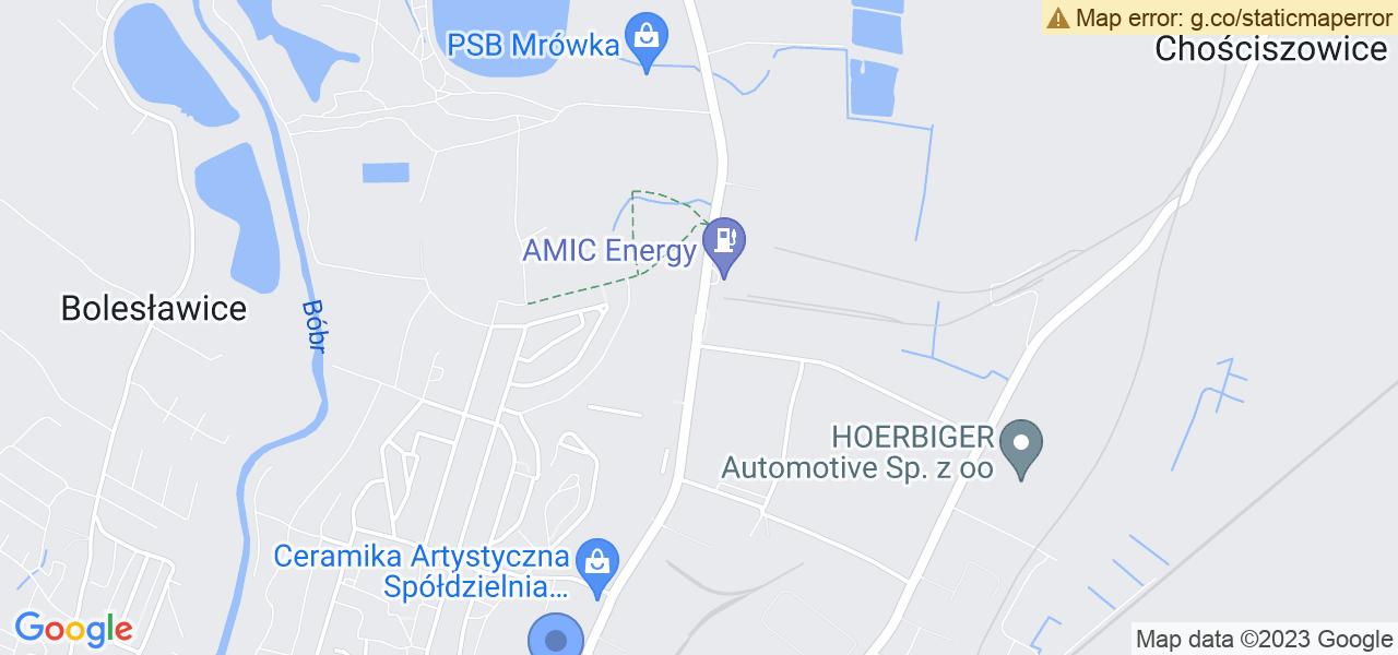 Jedna z ulic w Bolesławcu – Tadeusza Kościuszki i mapa dostępnych punktów wysyłki uszkodzonej turbiny do autoryzowanego serwisu regeneracji