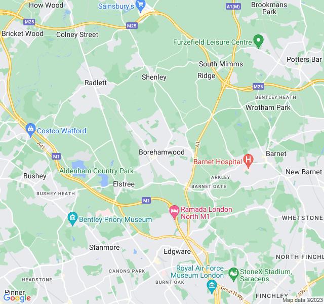 Website Designer Borehamwood Google map of location