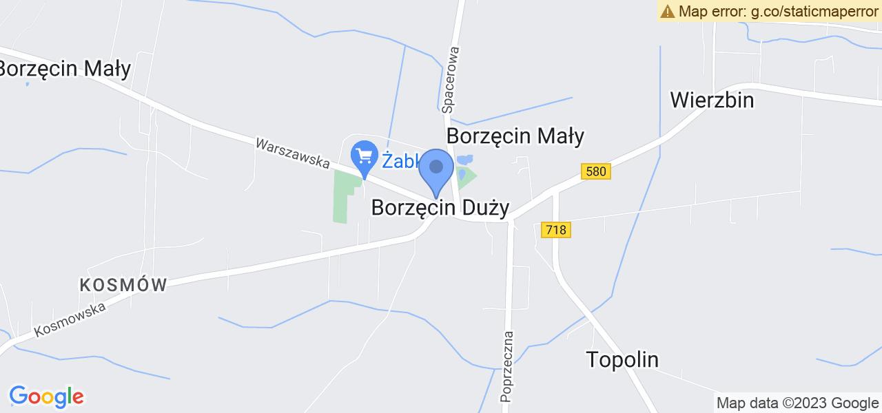 Jedna z ulic w Borzęcinie Dużym – Warszawska i mapa dostępnych punktów wysyłki uszkodzonej turbiny do autoryzowanego serwisu regeneracji