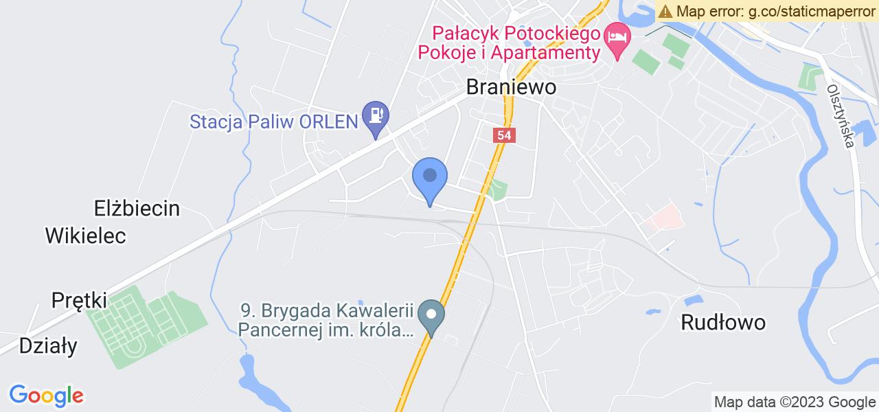 Jedna z ulic w Braniewie – Dąbrowskiego i mapa dostępnych punktów wysyłki uszkodzonej turbiny do autoryzowanego serwisu regeneracji