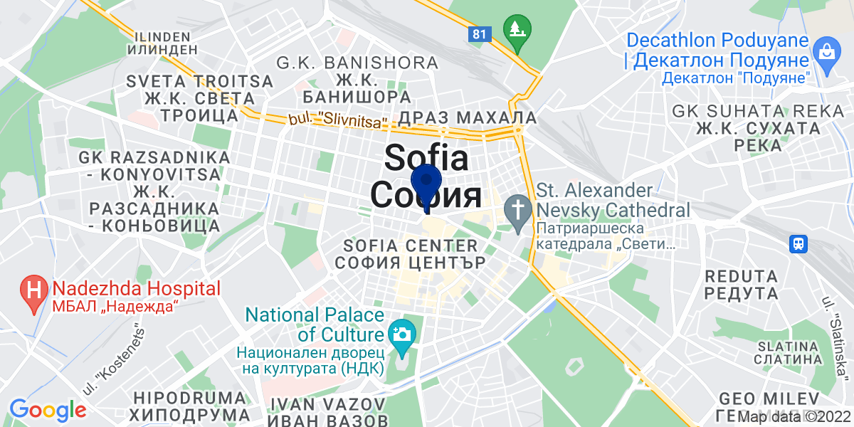Google Map of Bratja Miladinovi Str. 16, 1301 Sofia, Bulgarien