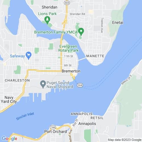 Map of Bremerton, WA