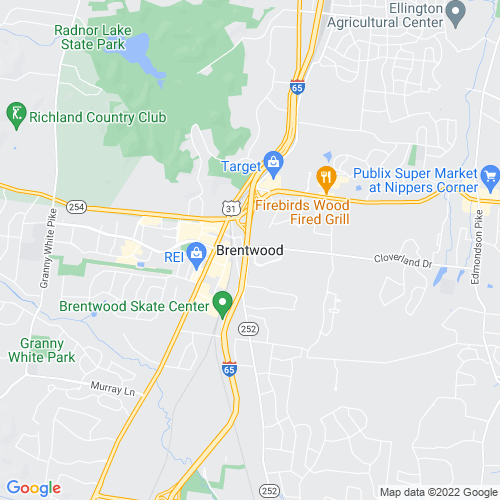 Map of Brentwood, TN