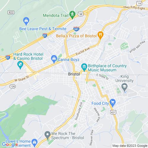 Map of Bristol, VA