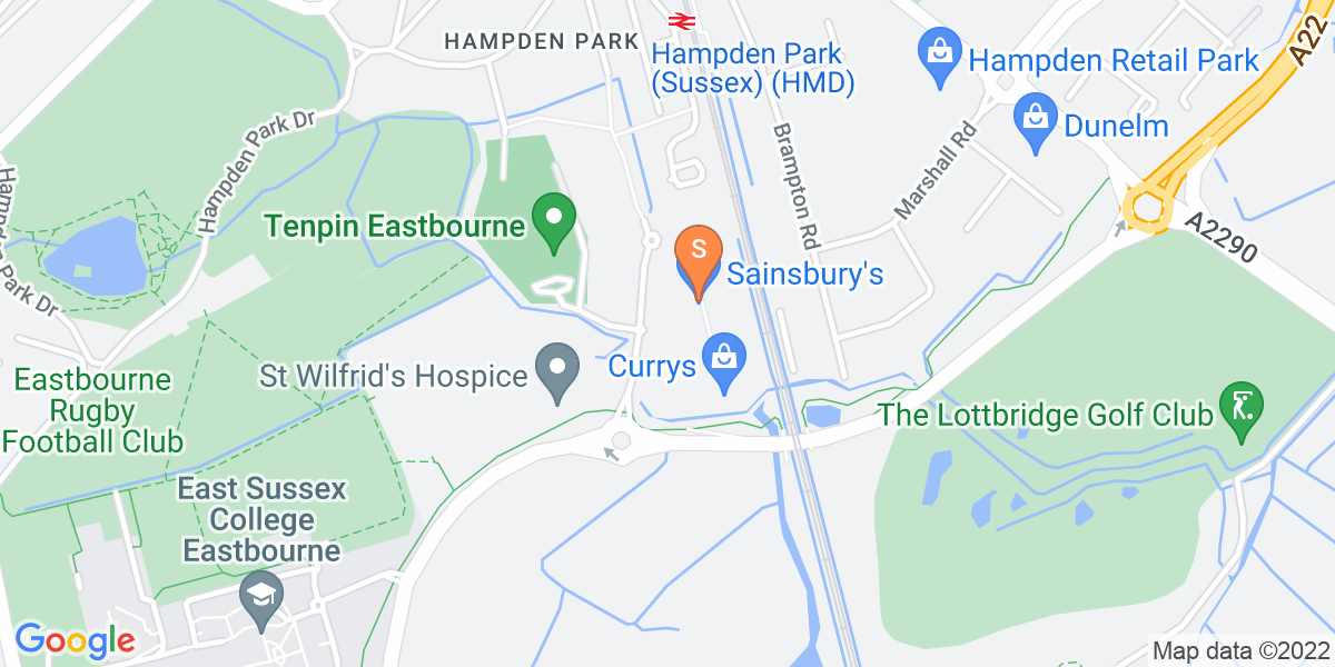 Google Map of Broadwater Way Eastbourne BN22 9PW