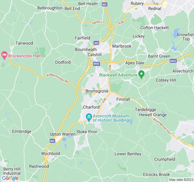 Website Designer Bromsgrove Google map of location