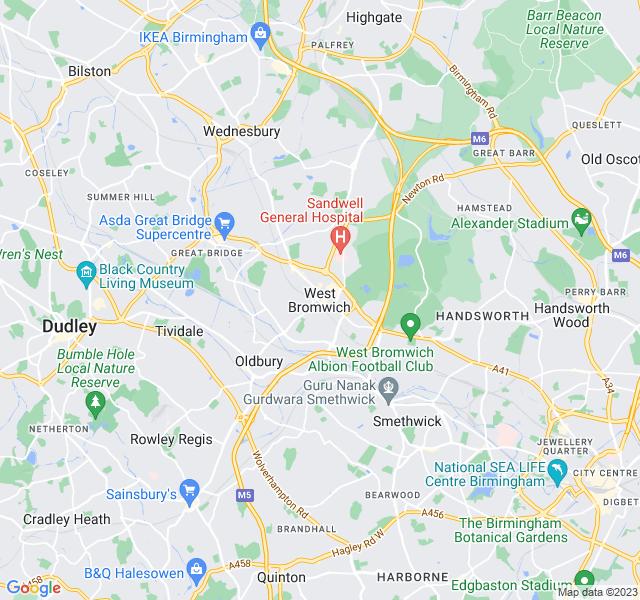 Website Designer Bromwich Google map of location