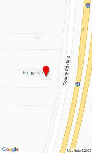Google Map of Bruggink's Inc. W2386 Country Road A S, Oostburg, WI, 53070,