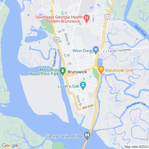 Map of Brunswick, GA