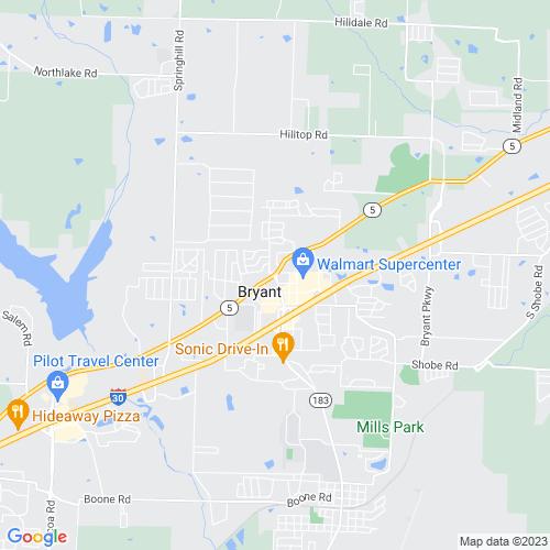 Map of Bryant, AR