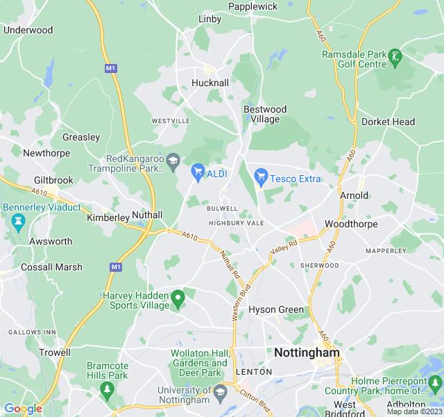 Website Designer Bulwell Google map of location