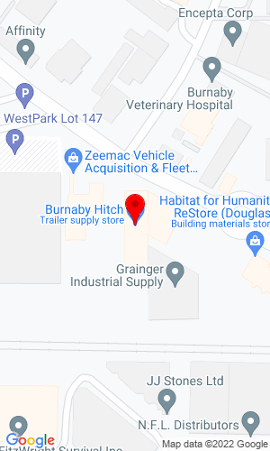 Google Map of Burnaby Hitch 2315 Douglas Road, Burnaby, BC, V5C 5A9