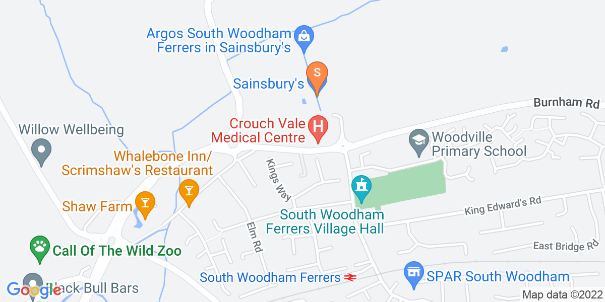 Google Map of Burnham Road South Woodham Ferrers CM3 5QP