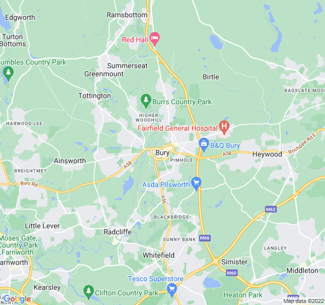 Website Designer Bury Google map of location