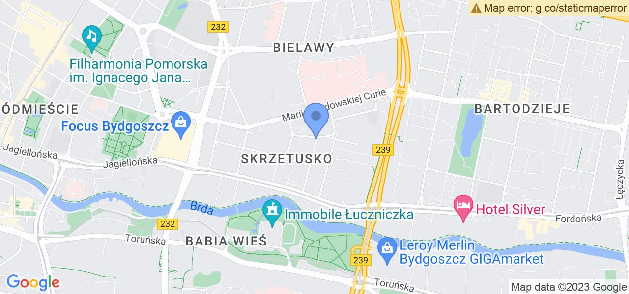 Jedna z ulic w Bydgoszczy – Łużycka i mapa dostępnych punktów wysyłki uszkodzonej turbiny do autoryzowanego serwisu regeneracji