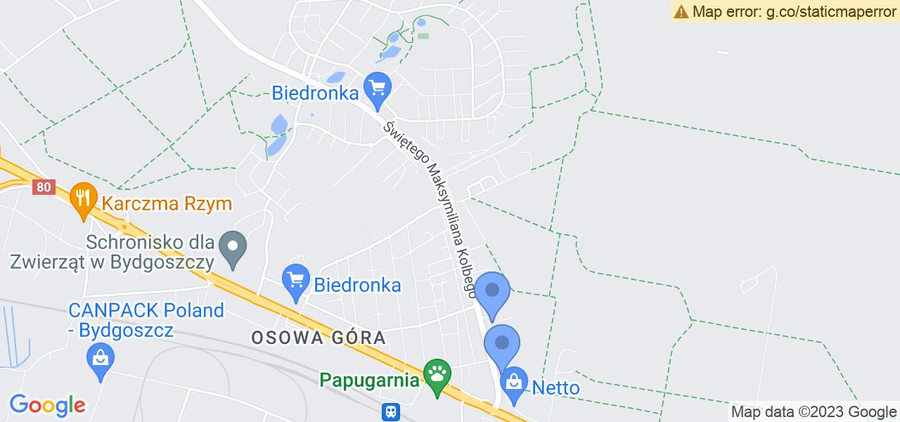 Jedna z ulic w Bydgoszczy – Świętego Maksymiliana Kolbego i mapa dostępnych punktów wysyłki uszkodzonej turbiny do autoryzowanego serwisu regeneracji