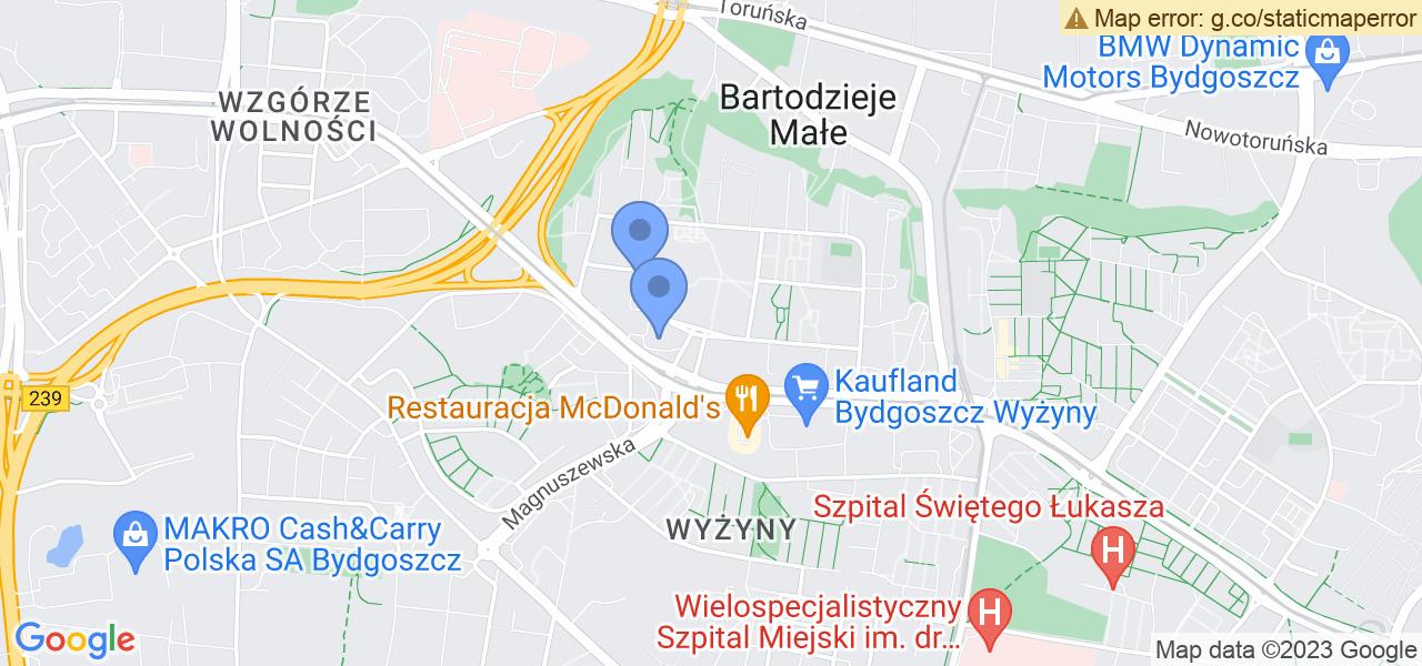 Jedna z ulic w Bydgoszczy – Adama Grzymały-Siedleckiego i mapa dostępnych punktów wysyłki uszkodzonej turbiny do autoryzowanego serwisu regeneracji