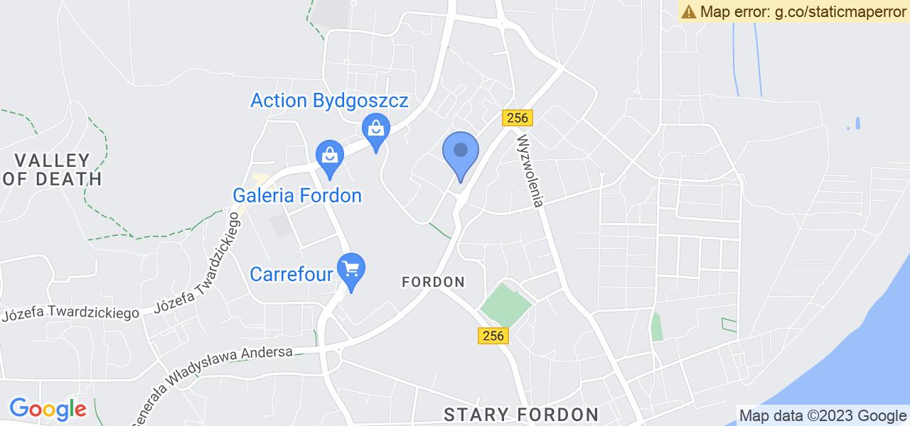Jedna z ulic w Bydgoszczy – Andersa i mapa dostępnych punktów wysyłki uszkodzonej turbiny do autoryzowanego serwisu regeneracji