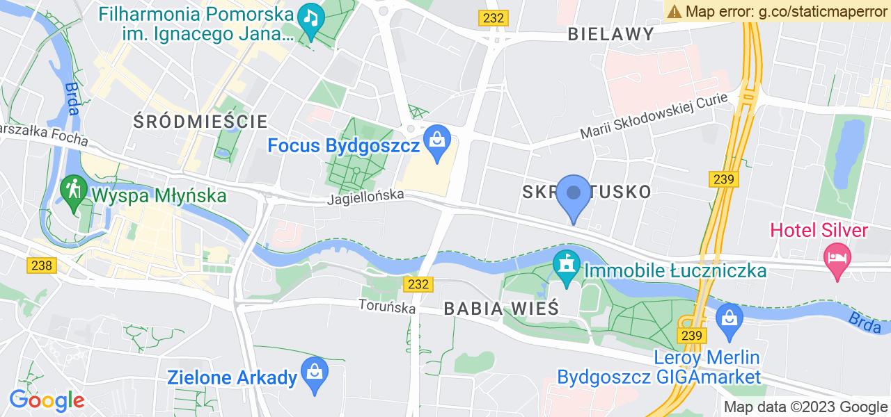 Jedna z ulic w Bydgoszczy – Jagiellońska i mapa dostępnych punktów wysyłki uszkodzonej turbiny do autoryzowanego serwisu regeneracji