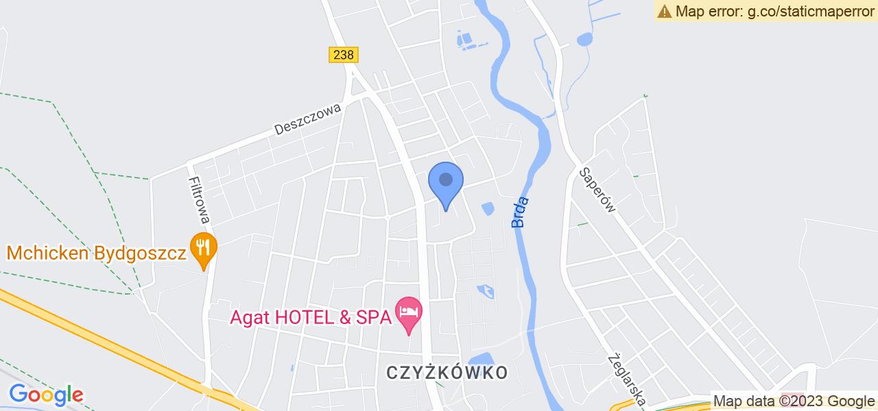 Jedna z ulic w Bydgoszczy – Lubostrońska i mapa dostępnych punktów wysyłki uszkodzonej turbiny do autoryzowanego serwisu regeneracji