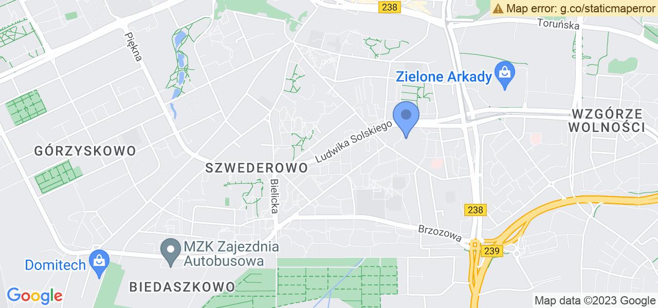Jedna z ulic w Bydgoszczy – Ludwika Solskiego i mapa dostępnych punktów wysyłki uszkodzonej turbiny do autoryzowanego serwisu regeneracji