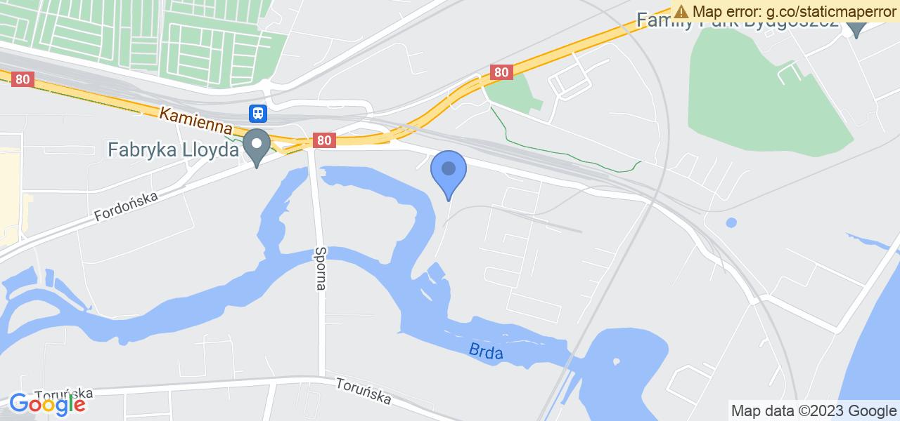 Jedna z ulic w Bydgoszczy – Portowa i mapa dostępnych punktów wysyłki uszkodzonej turbiny do autoryzowanego serwisu regeneracji