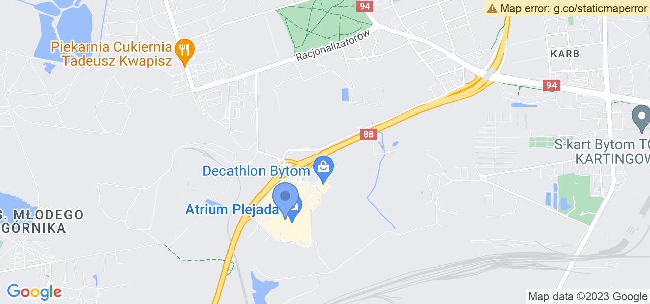Jedna z ulic w Bytomiu – Aleja Jana Nowaka-Jeziorańskiego i mapa dostępnych punktów wysyłki uszkodzonej turbiny do autoryzowanego serwisu regeneracji