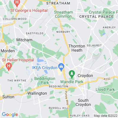 Mitcham Road Cemetery and Croydon Crematorium Location