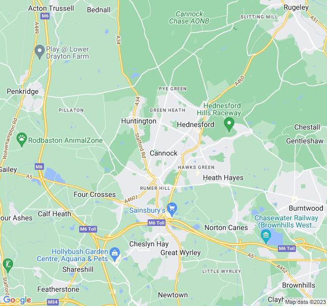 Website Designer Cannock Google map of location