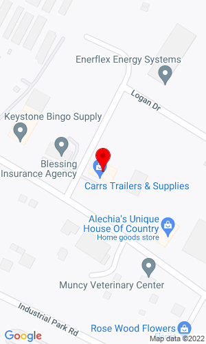 Google Map of Carrs Trailers & Supplies 1739 John Brady Drive, Muncy, PA, 17756,